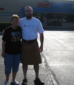 Carol in her PetSmart t-shirt and Brian in his B and O shirt